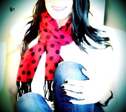 Red and Black Polkadot Scarf